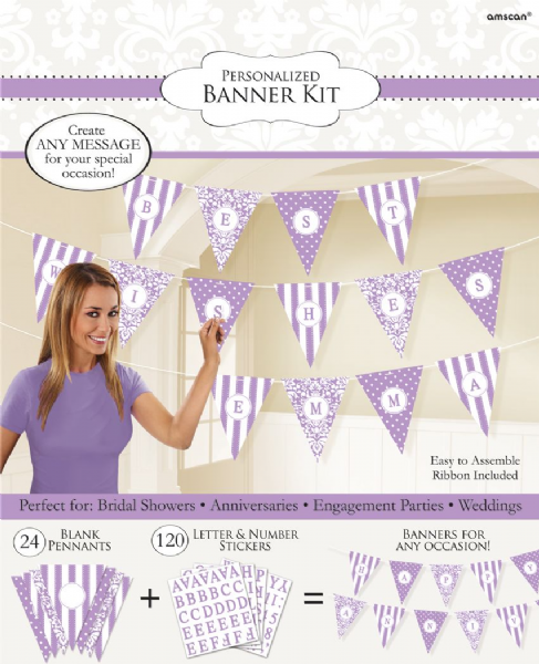 Personalised Paper Pennant Bunting  - Lilac